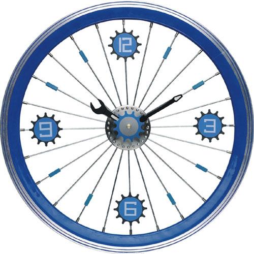 Maples LFT-16-BU Bike Wall Clock - With Blue Aluminum Rim