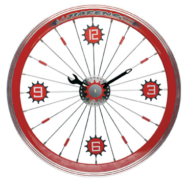Maples LFT-16-RD Bike Wall Clock - With Red Aluminum Rim