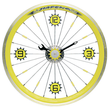 Maples LFT-16-YL Bike Wall Clock - With Yellow Aluminum Rim