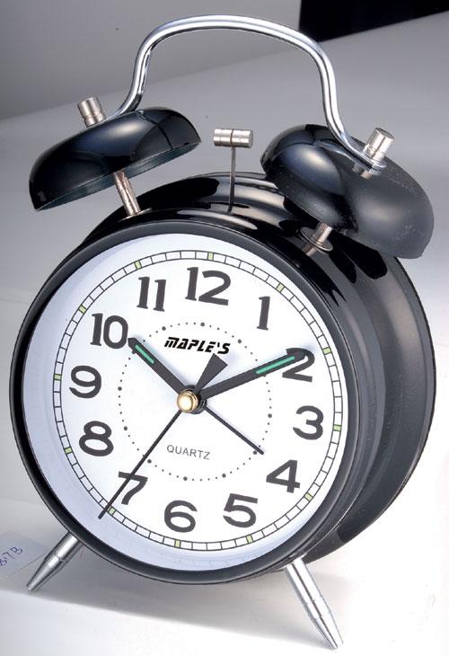 Maples Q817B Desktop Black Alarm Clock in 4 Inch Dial