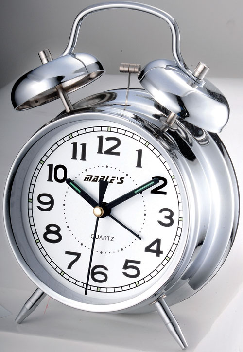 Maples Q817 Desktop Black Alarm Clock in 4 Inch Dial