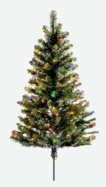 National Tree Company SMV1-303-30 3 Foot Outdoor Smithville Spruce Walkway Tree with 100 Multi Lights