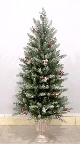 National Tree Company DUF-322-30 3 Foot Dunhill Fir Entrance Tree with Snow Red Berries and Cones with 50 Velvet Frost Multi Lights in Pearl Silver Plastic Pot