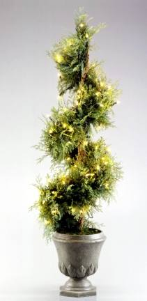National Tree Company KNJS-300-45 4.5 Foot Juniper Evergreen Christmas Spiral Tree with 100 Clear Lights in Gray Fiberglass Pot (Indoor/Outdoor)