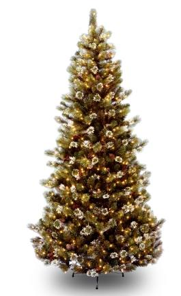 National Tree Company GP1-302-75 7.5 Foot Glittery Pine Slim Hinged Tree w/ Cones  Snowflakes and 500 Clear Lights