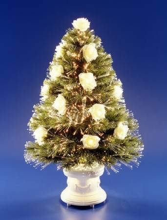 National Tree Company SZRS7-103-36 36 Inch Fiber Optic White Rose Tree with Antique White Column Base - Clear Twnkle Wheel
