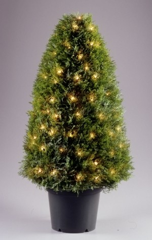National Tree Company LCY-300-36 36 Inch Upright Juniper Tree with 70 Clear Lights in Green Round Plastic Pot