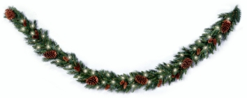 National Tree Company PC9GLO 9 Foot x 10 Inch Pine Cone Garland with 50 Clear Lights