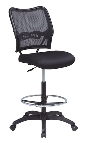 Office Star 13-37N20D DELUXE AIR GRID BACK DRAFTING CHAIR WIT HMESH SEAT AND ADJUSTABLE FOOTRING