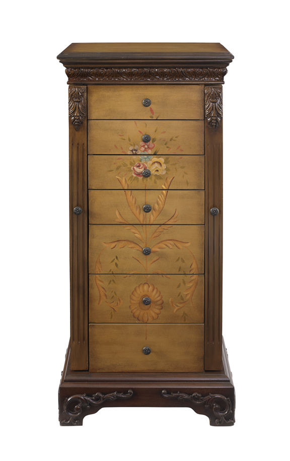 Powell 582314 Masterpiece Antique Parchment Hand Painted Jewelry Armoire