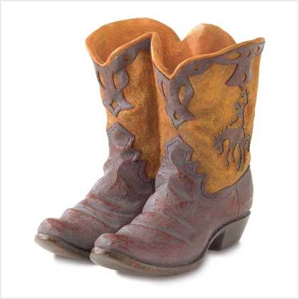 """SWM 38447 9 5/8"""" L x 7 3/4"""" W x 9 1/8"""" H Cowboy Boot Planter - Polyresin"""