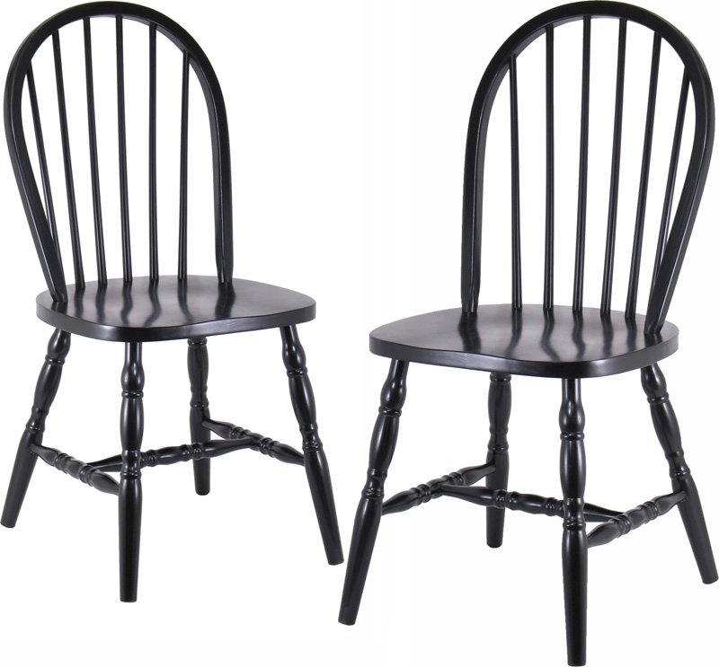 Winsome 29237 Black Windsor Chairs with Curved Legs - Set Of 2