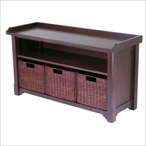 Winsome 94341 Antique Walnut Storage Bench with Baskets Set