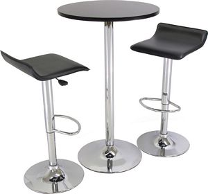 Winsome 93324 Three Piece Black Pub Set with Chrome Legs