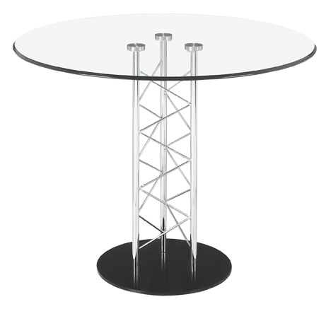 Zuo 121111 Chardonnay Collection Dining Table with Round Glass Top