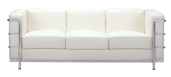 Zuo 900231 Fortress Sofa in White with Italian Leather