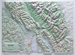 Hubbard Scientific Raised Relief Map 416 Glacier National Park