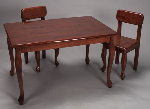 Giftmark 3001C Solid Wood Childrens Rect Queen Anne Table & Chair Set Cherry