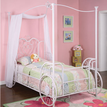 Powell 374-042 Princess Emily Chic White with Pink Sand-Through Carriage Canopy Twin Size Bed