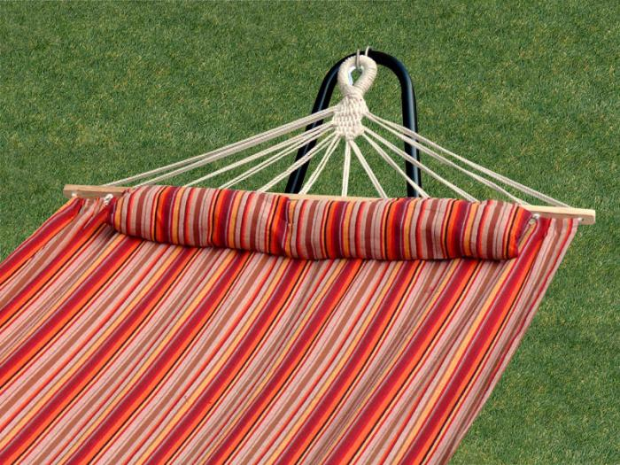 Bliss Hammocks BH-404F Bliss Tequila Sunrise Hammock With Pillow - 48 Inches Wide - Toasted Almond - Red Yellow Orange Brown Thin Stripes