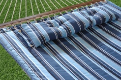 Bliss Hammocks BQH-482 Bliss Euro Quilted Hammock with Button Tuft Pillow - Dark Blue Lt. Blue White Stripe Pattern
