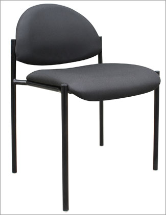 Boss B9505-BK Contemporary Armless Fabric Stackable Chair - Black