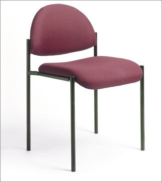 Boss B9505-BY Contemporary Armless Fabric Stackable Chair - Burgandy