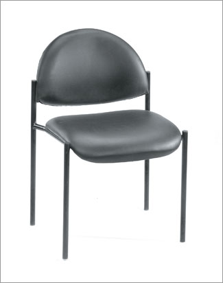 Boss B9505-GY Contemporary Armless Fabric Stackable Chair - Grey