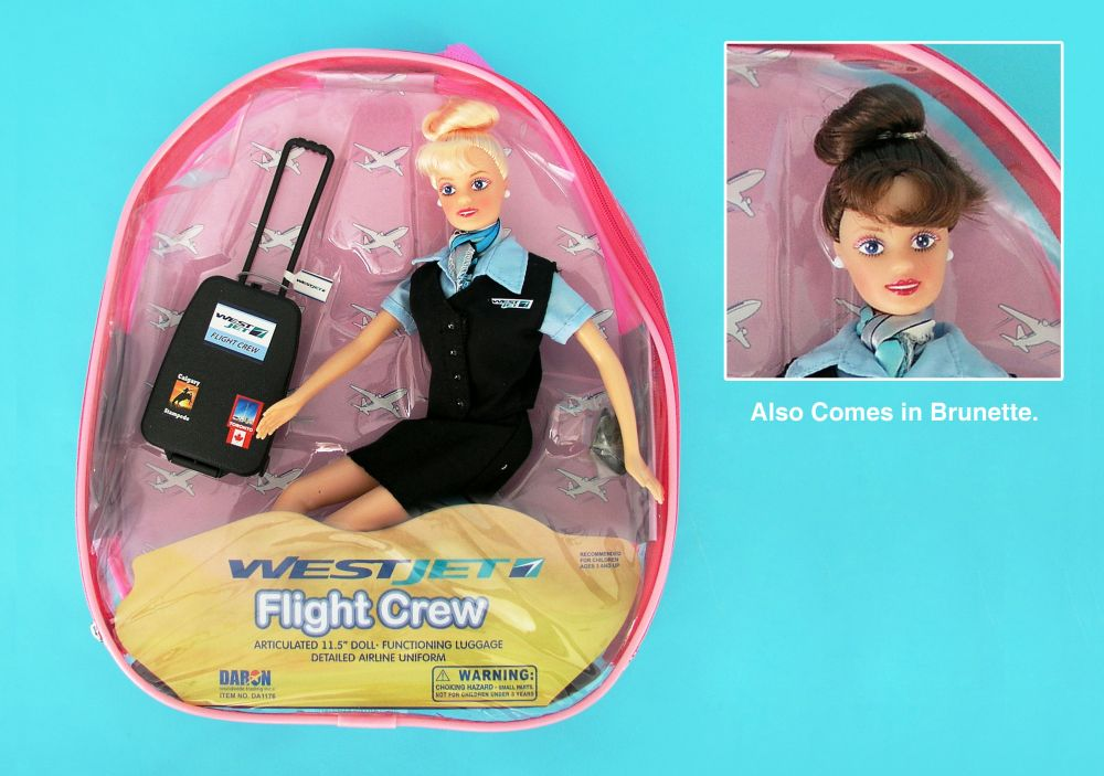 Daron Worldwide Trading  DA1176 Westjet Flight Attendant Doll with Luggage DARON1286