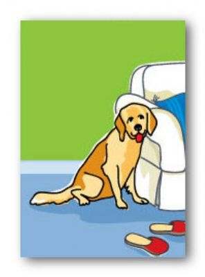 Paper Russells PAMG103 Magnet 2x3 Inch Golden Retreiver and Slippers