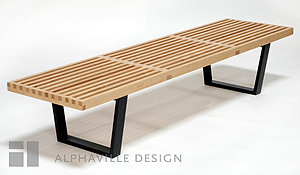 Alphaville Design BN-WOOD-6-NAT 6ft Classic Wooden Bench Birch Legs in Black Finish with Natural Top