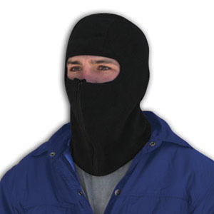 Zan Headgear WBF114Z Balaclava  Microfleece with Zipper  Black BLB360