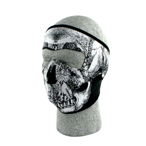 Zan Headgear WNFM002G Neoprene Face Mask  Glow in the Dark  Blk and White Skull Face BLB383