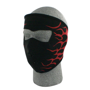 Zan Headgear WNFM229R Neoprene Face Mask  Flames 2  Red BLB421