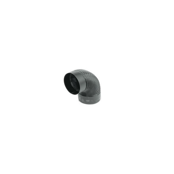Gray Metal Products  Inc. 6-24-602C 6 Inch  24-ga Snap-Lock Black Stovepipe 90 Deg Corrugated Nonadjustable Elbow