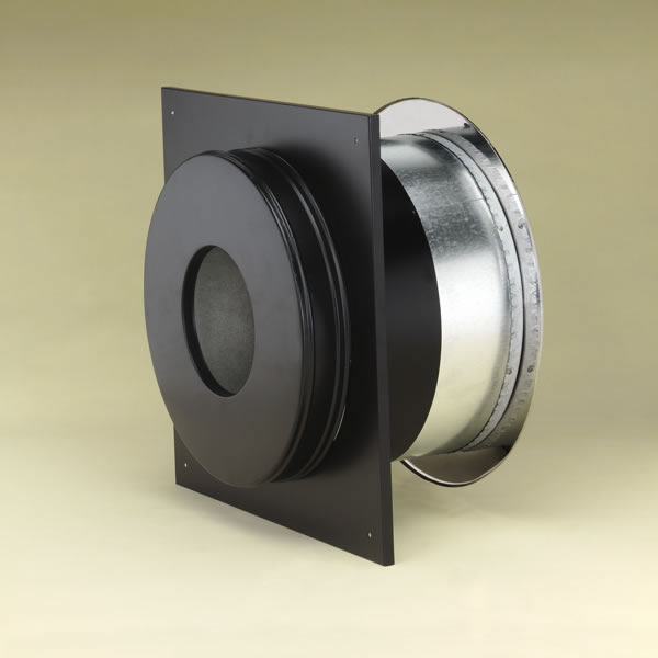M & G Duravent 6DP-WT 6 Inch  Dura-Vent Dura/plus Wall Thimble  Galvanized Steel Painted Black with Trim