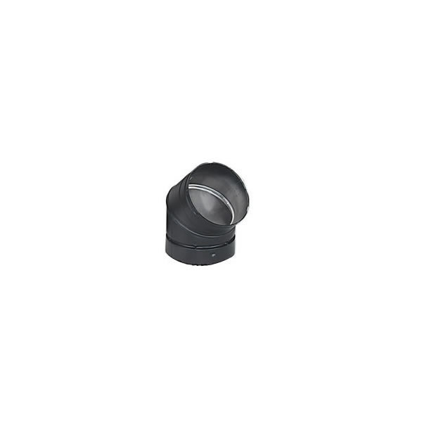 Lennox Hearth Products 6DE45 6 Inch  Security Double-Wall Black Stovepipe 45 Deg Elbow  Sectioned non-adjustable