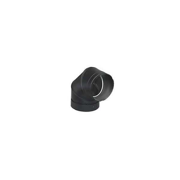 Lennox Hearth Products 6DE90 6 Inch  Security Double-Wall Black Stovepipe 90 Deg Elbow  Sectioned non-adjustable