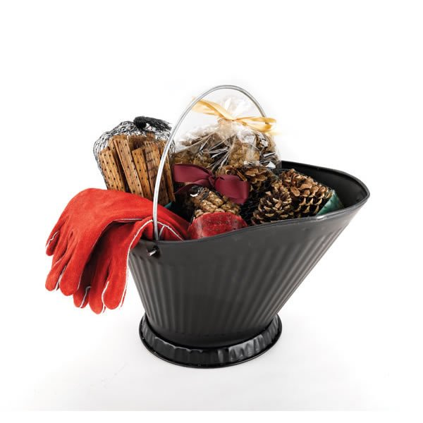 Fire Gloves - Copperfield 47144 Woodfield Coal Hod Sampler With Golves Contains Magical Color Cones Pine Cone Fire Starters Southern Fatwood And 13 Inch Woodburner Fts