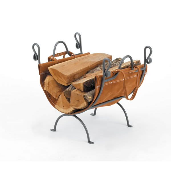 Woodfield  Vintage Iron Log Rack With Leather