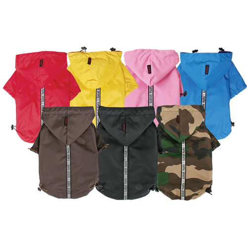 Clothing and Accessories - Puppia PURM03BK2X Apparel - Base Jumper Raincoat Black 2X
