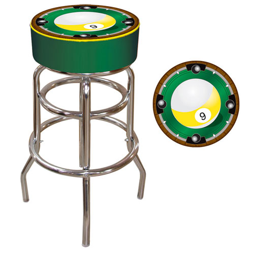 "Poker 9Bl1000 7.5"" Trademark Global 9-Ball Padded Bar Stool"