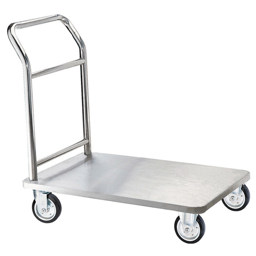 Aarco FB-1C Carpeted Top Bellman's Luggage Cart - Chrome