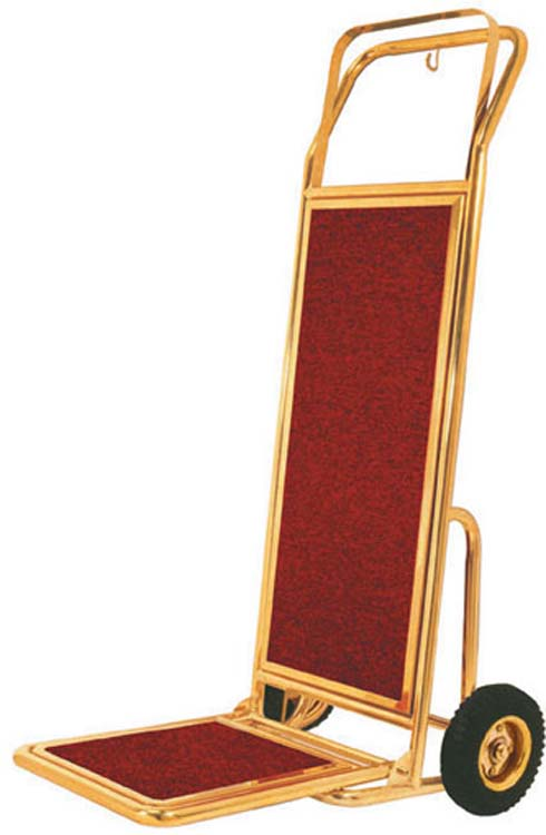 Aarco HT-2B  Bellman Handtruck - Brass w/ Carpeted Bed