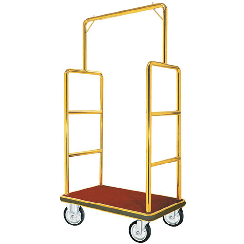Aarco LC-1B  Bellman Luggage Cart - Brass W/ Carpeted Bed and Hanger Rail