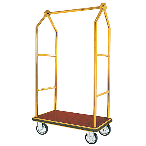 Aarco LC-2C  Bellman Luggage Cart - Chrome w/ Carpeted Bed and Hanger Rail