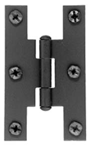 Image of Acorn AH1BQ Smooth Iron Flush Non-Self Closing H Style Cabinet Hinge Pair Flat Black