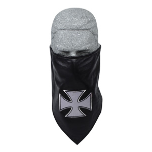 Zan Headgear BL005 Leather Bandanna with Fleece Lining  Embroidered  Iron Cross