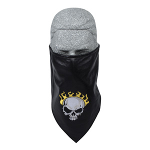 Zan Headgear BL006 Leather Bandanna with Fleece Lining  Embroidered  Flame Skull