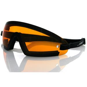 Zan Headgear BW201A Wrap Around Goggle  Black Frame  Amber Lens